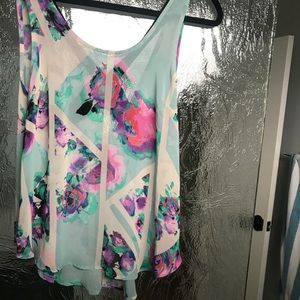 ASTR sheer floral tank with built in back cross